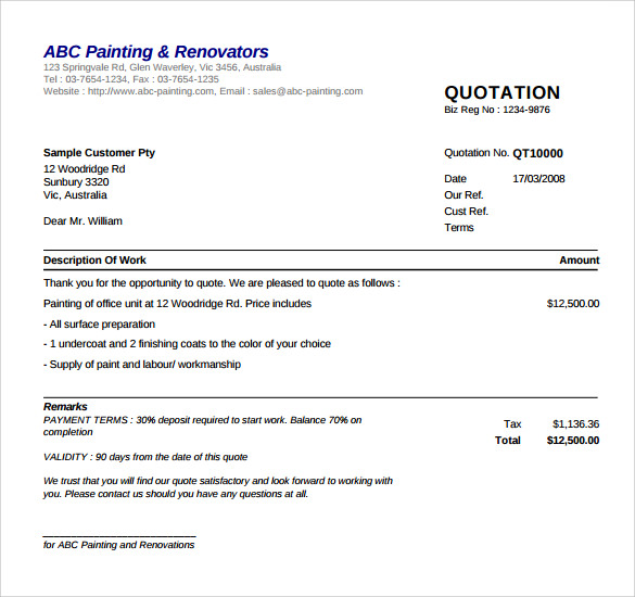 Painting Invoice. Painting Quotation Template Sample Painting