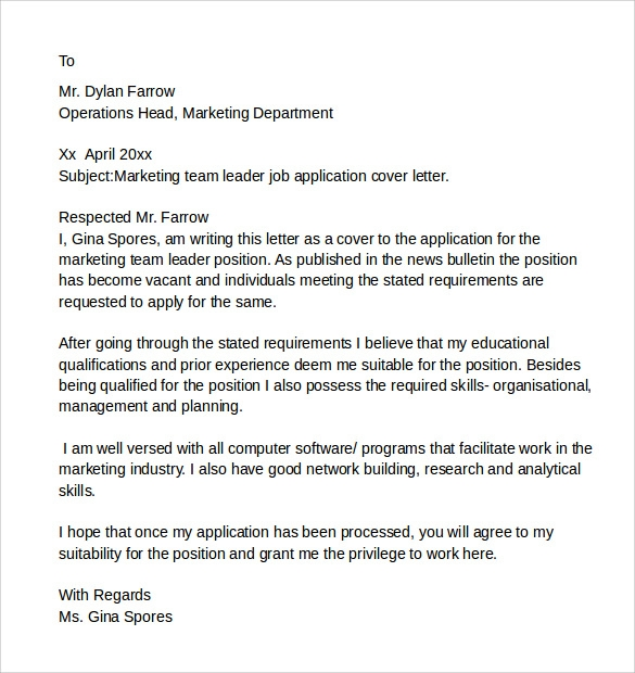 cover letter for a team leader position - 8 sample it cover letter samples examples format