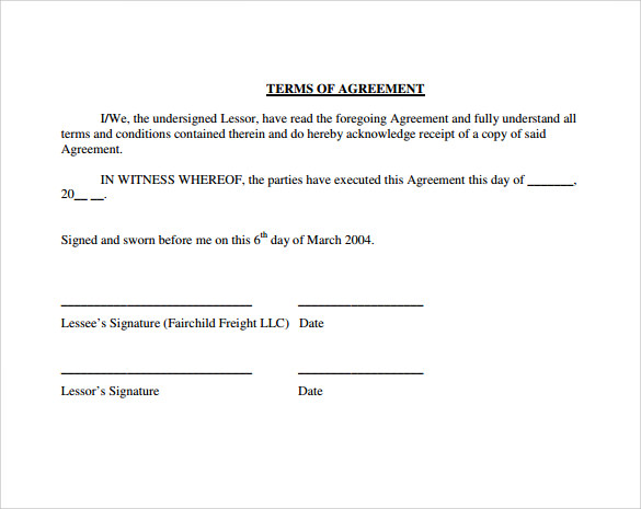owner operator lease agreement terms