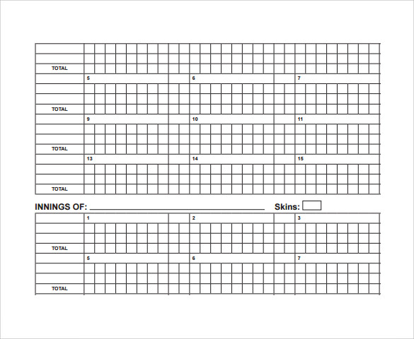 Sample Cricket Score Sheet   Documents In Pdf Word
