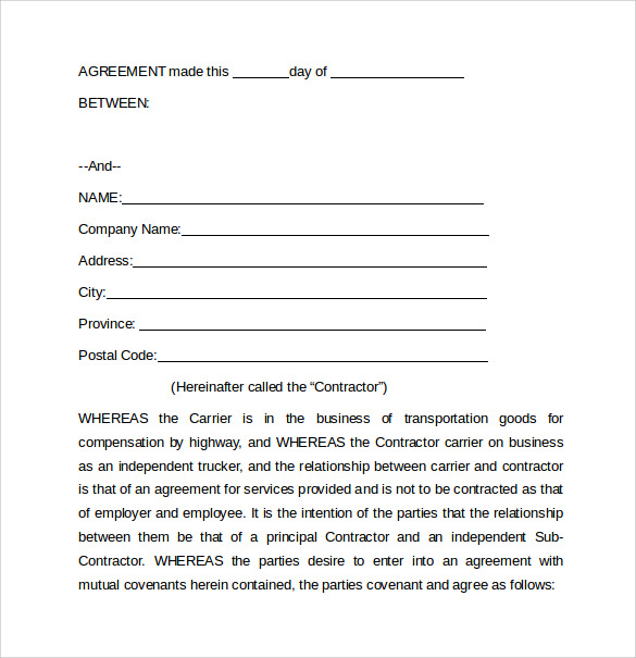 owner operator lease agreement with a carrier