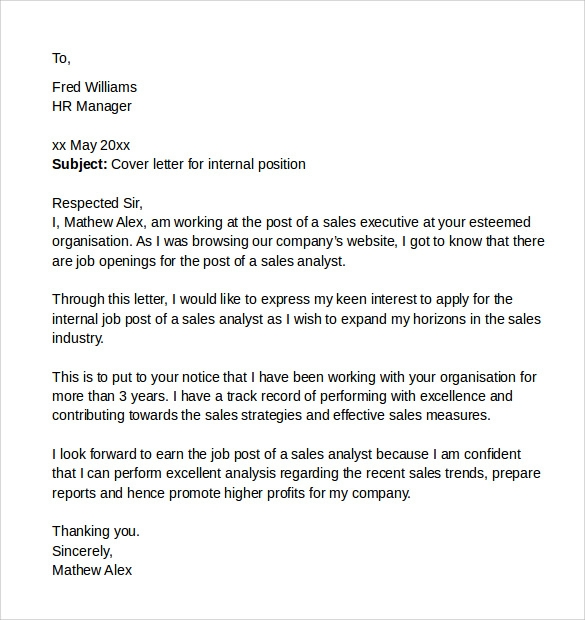 letter applying for a job internally cover letter for position sample example 15955