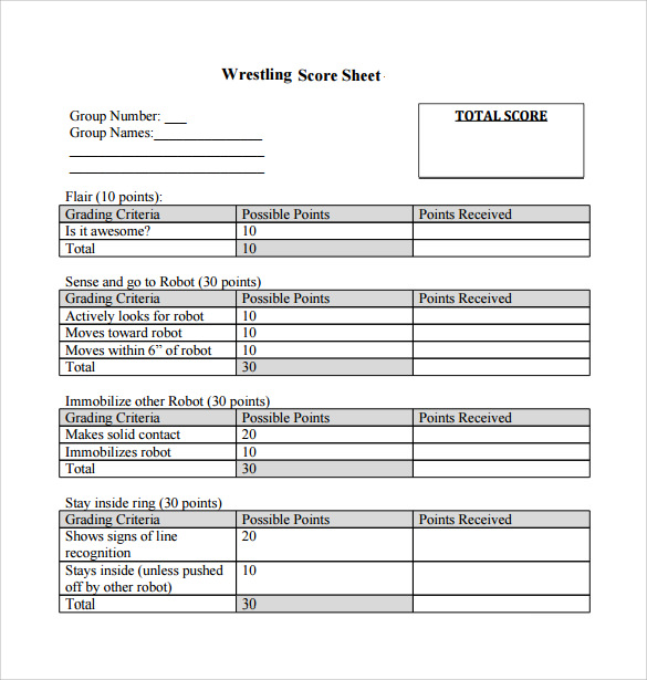 Sample Wrestling Score Sheet   Documents In Pdf Word Excel