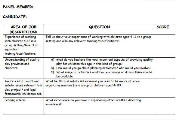 12 Sle Interview Score Sheets Templates