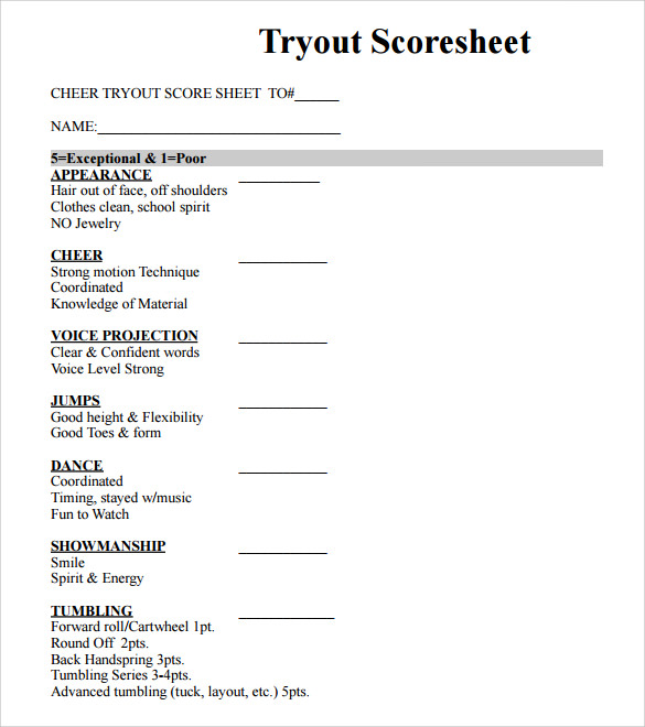 Sample Cheer Leading Tryout Score Sheet   Documents In Pdf Word