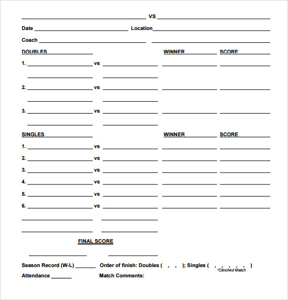 Sample Tennis Score Sheet – 7 + Example, Format