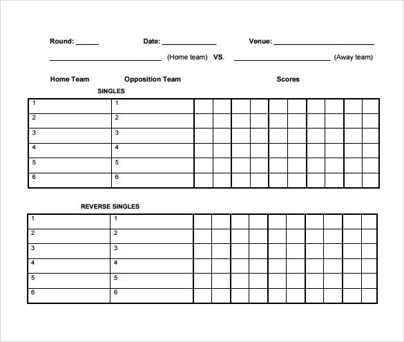 7 Tennis Score Sheet Samples Sample Templates