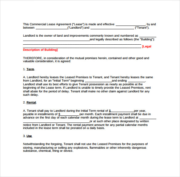 Landlord Lease Agreements 6 Samples Examples Formats – Sample Landlord Lease Agreement