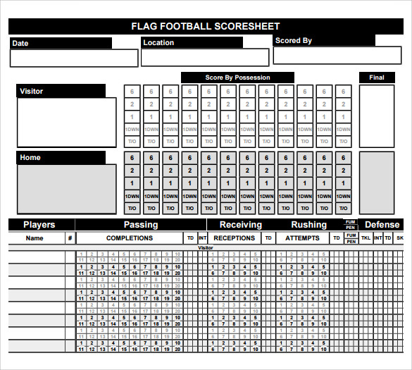 Football Score Sheets  Free Sample Example Format