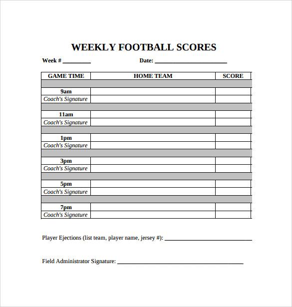 Doc580560 Sample Football Score Sheet Sample Football Score – Football Score Sheet Template