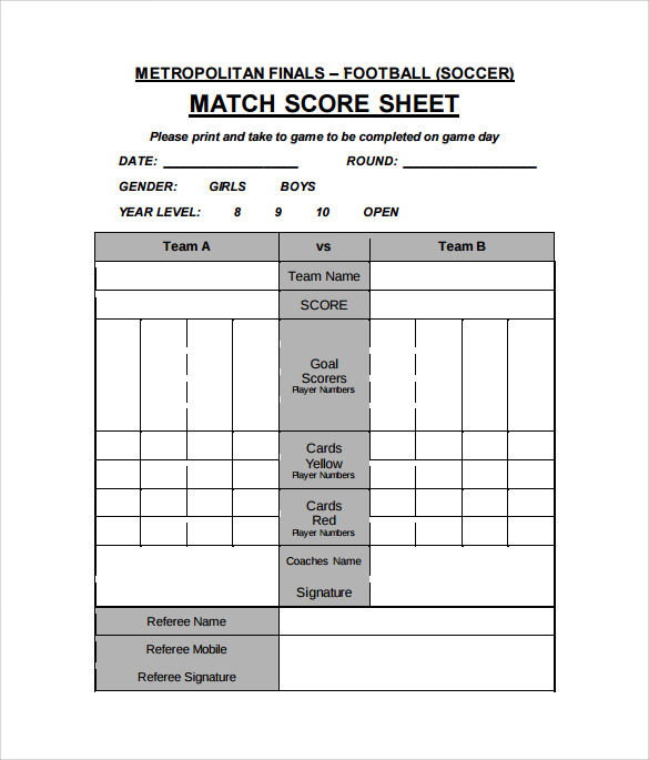 9+ Football Score Sheets - Free Sample, Example, Format