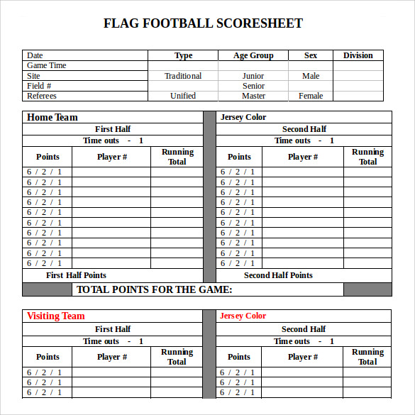 sample football score sheet