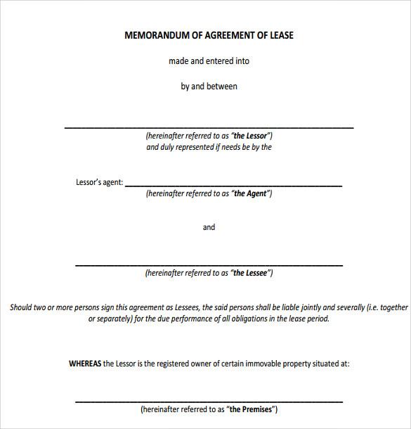 Memorandum Of Lease Agreement Template Free ~ Memorandum Of Lease ...