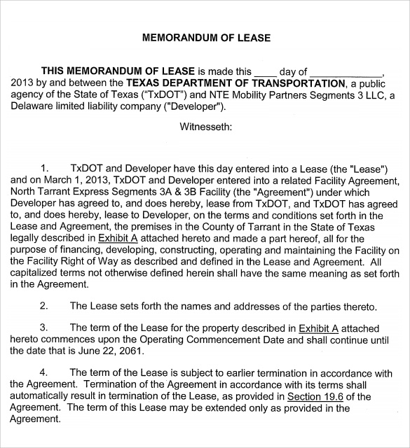 Memorandum Of Lease Agreement Samples Examples Format 7 – Lease Agreement Sample
