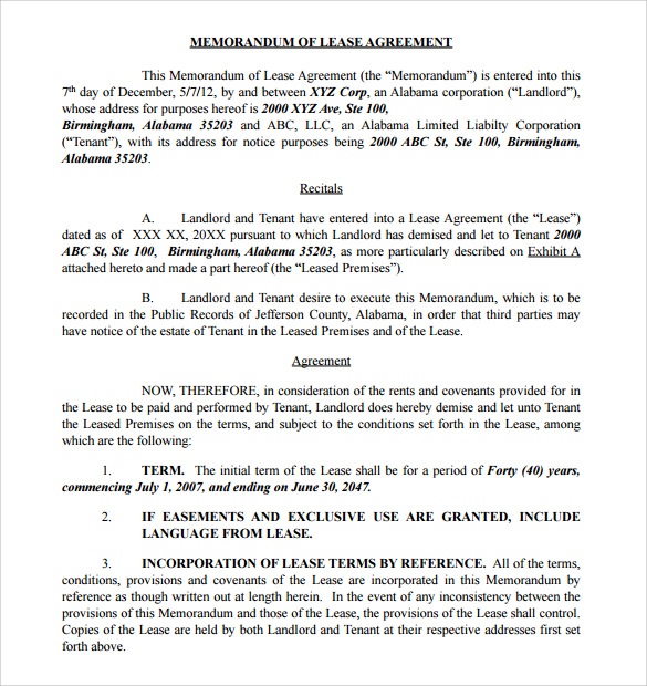 Memorandum Of Lease Agreement Samples  Examples  Format