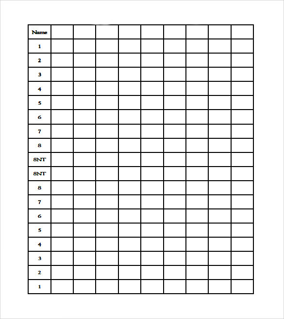 Sample Bridge Score Sheet  Example Format