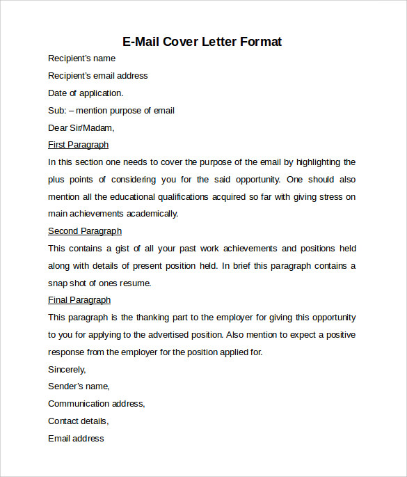 format for email cover letters