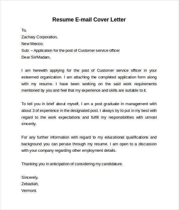 Emailing resume cover letter template