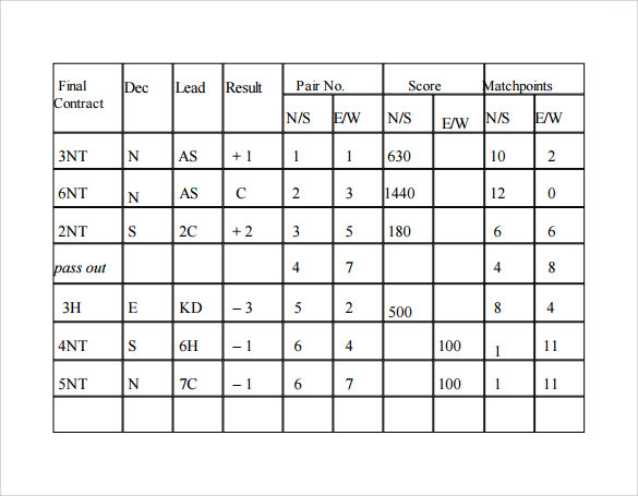 bridge score sheet example