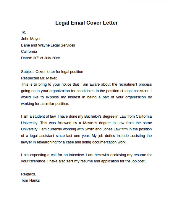 Email cover letter 7 free samples examples formats for Cover letter for internship in law firm