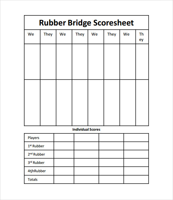 Sample Bridge Score Sheet - Example, Format