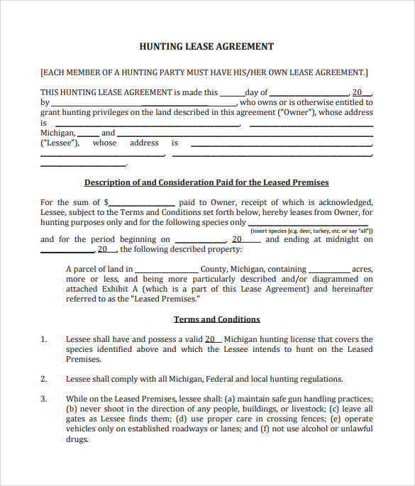 Sample Hunting Lease Agreement   Documents In  Word