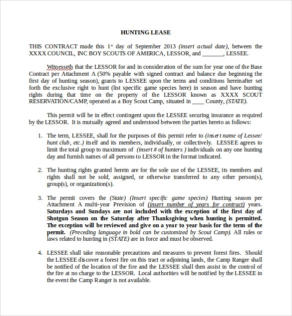 Hunting Lease Agreement In Word  Lease Agreement Word Document