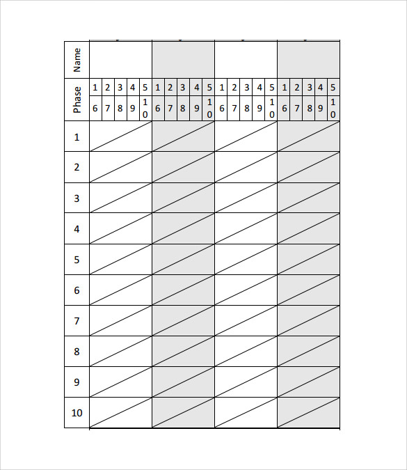 Charming Phase 10 Score Sheet 4 Players Images