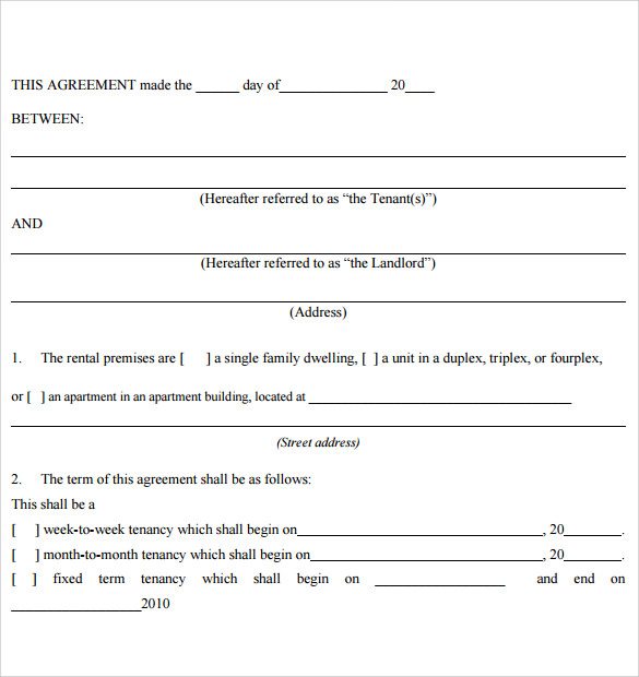 Tenant Lease Agreement Samples  Examples  Format  Download Free