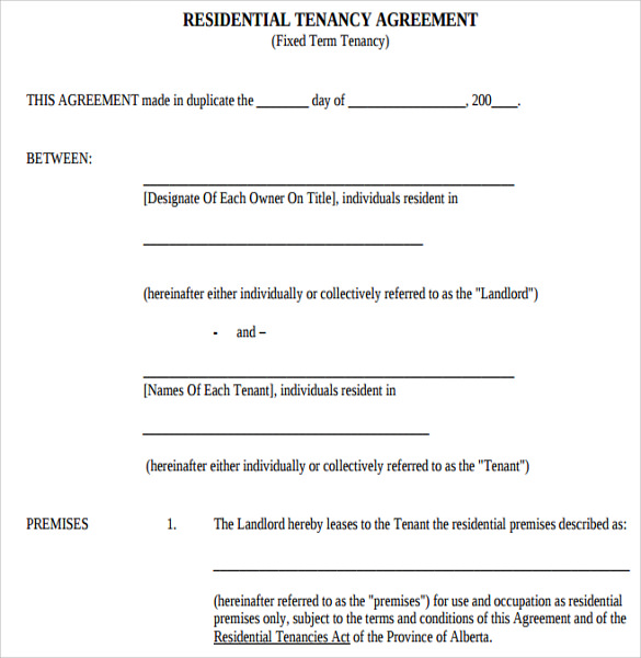 tenant lease agreement samples   examples  u0026 format