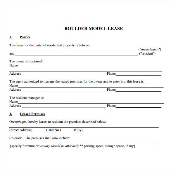 boulder model tenant lease