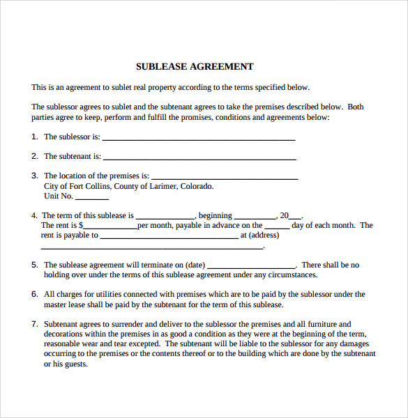 tenant sublease agreement1