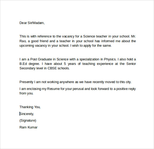 Cover Letter For Science Teacher Post