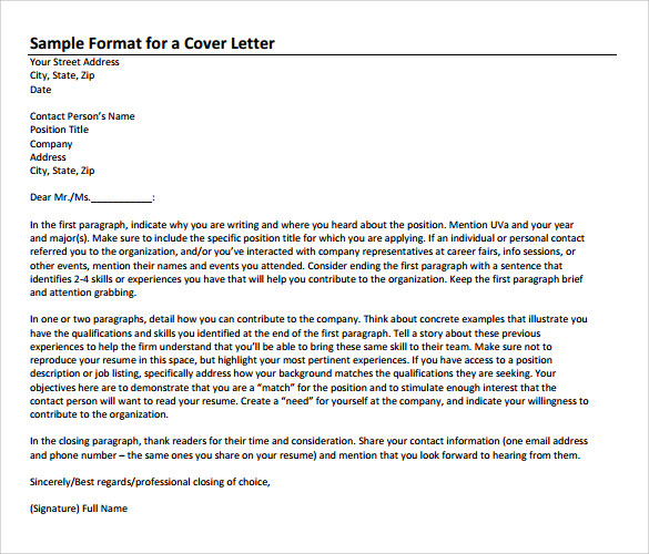 sample format for a job application cover letter - Example Of Job Application Cover Letter