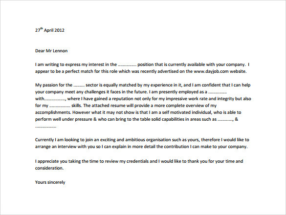 free letter format application cover letter 8 samples examples 21853 | Job Application Free Cover Letter1
