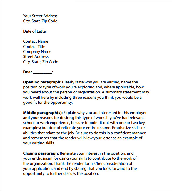 professional cover letter templates 7 samples