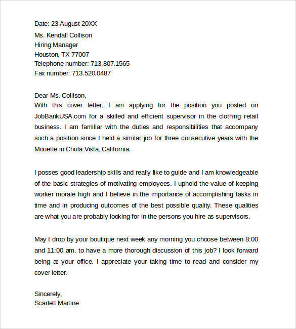 Simple Cover Letter Templates 8 Samples Examples Formats