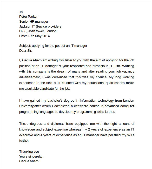 Simple Cover Letter Templates - 8+ Samples , Examples & Formats