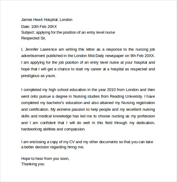 Nursing Job Cover Letter