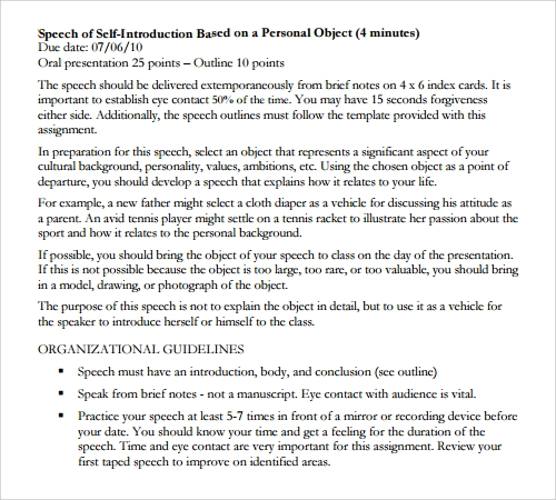 Introductory Speech Example Self Introduction Sample Speech