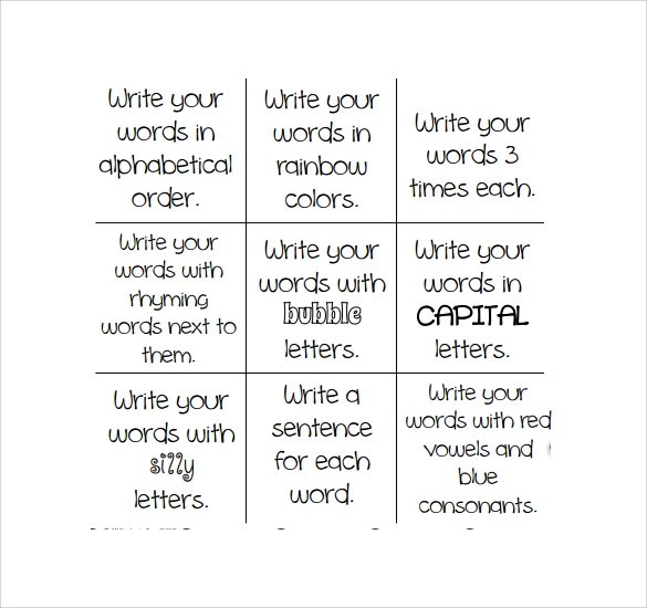 Sample Tic Tac Toe Template. Holesthenovel Activities Lesson