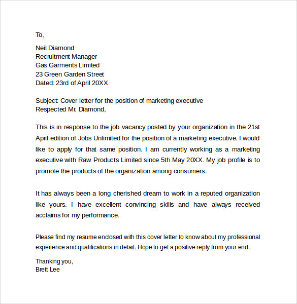 Product marketing executive cover letter
