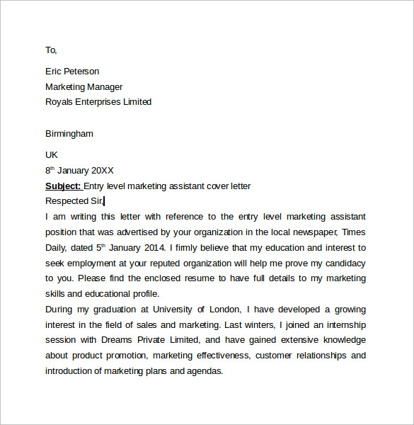 entry level cover letter 7 free samples examples formats - Sample Entry Level Cover Letter