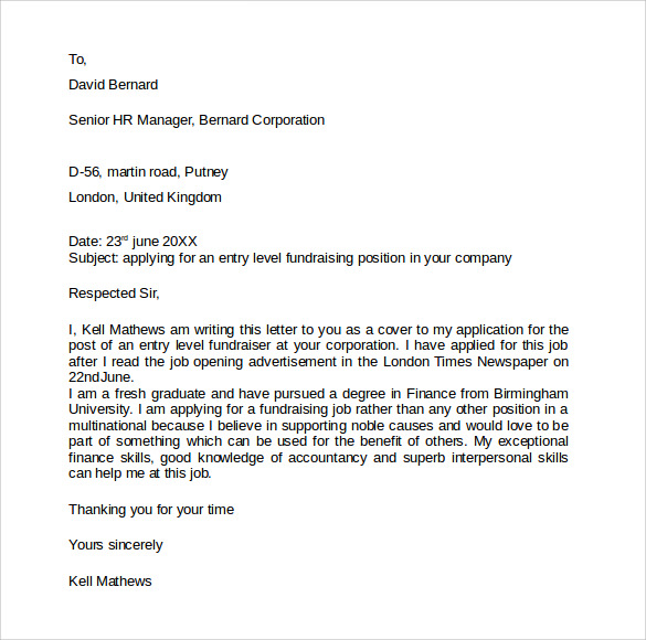 Entry Level Cover Letter - 7+ Free Samples , Examples ...