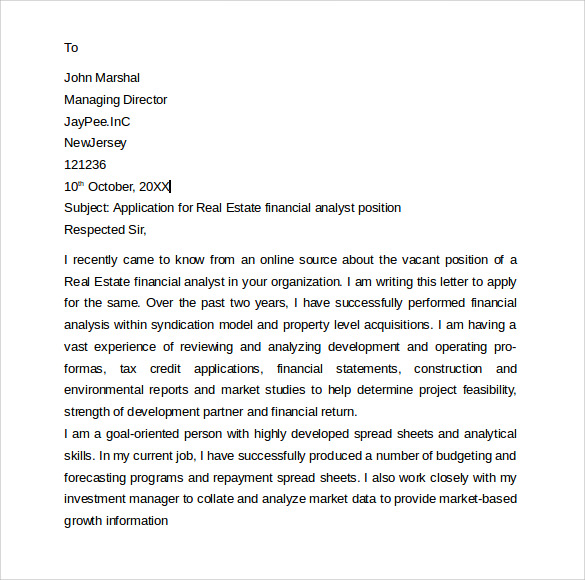 cover letter financial analyst entry level Student cover letter example is a sample for college or university student or entry level professional looking for first job position however, it does not appear to be in response to a posting, but rather an open letter for any business analyst position this student cover letter provides an example of how a college student.