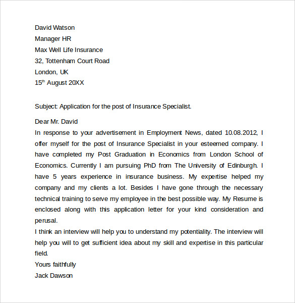 Insurance Cover Letter Example Salesperson Marketing Cover