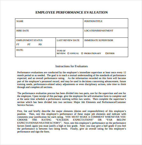 Employee Evaluation Forms    Samples  Examples  Format