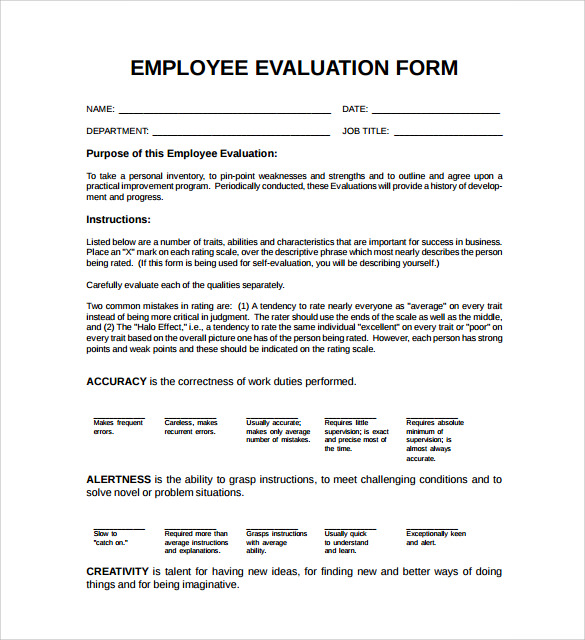 employee evaluation form simple