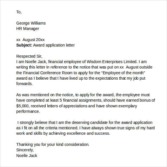examples cover letter for job application