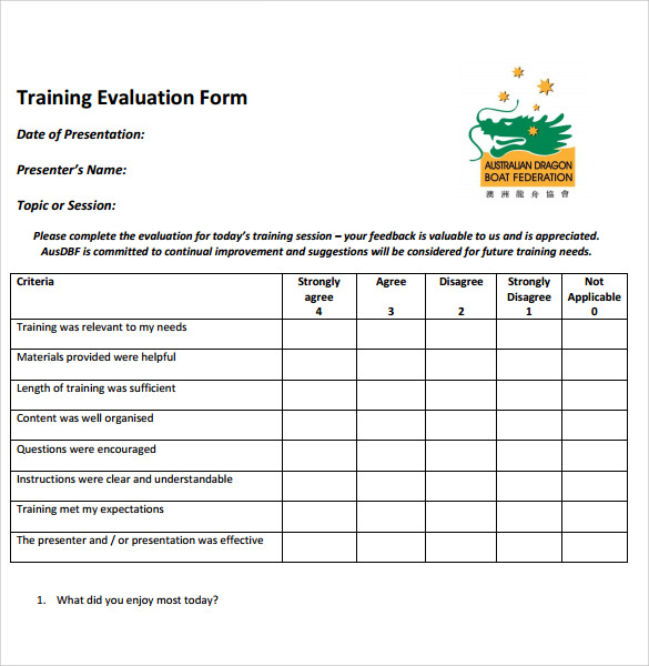 Training Evaluation Form - 7+ Samples , Examples & Format